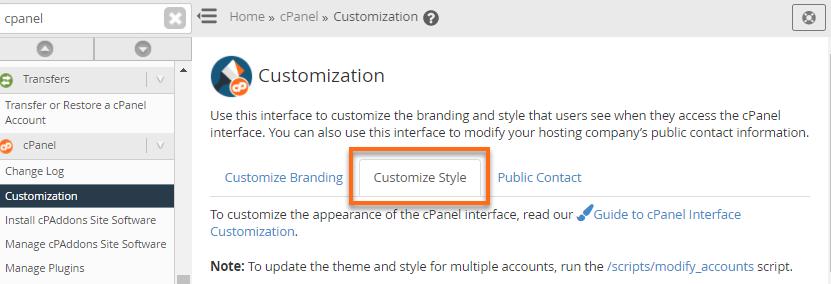 WHM - Customization - Customize Style Tab