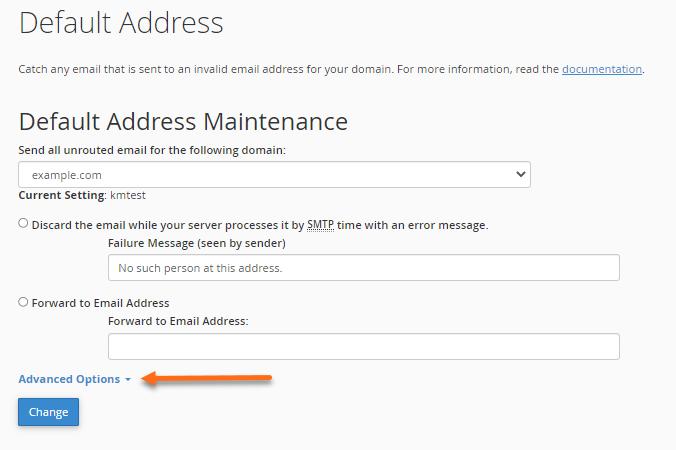 Default Address Advanced Options