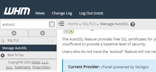WHM's Manage AutoSSL