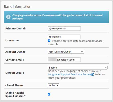 Modify an Account - Basic Information