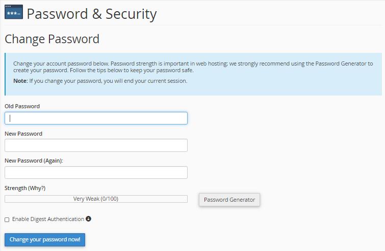 Reseller - Change Password