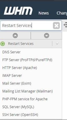 WHM Restart Services