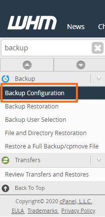 HostGator - WHM - Search Backup Configuration