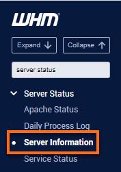 WHM - Server Status - Server Information