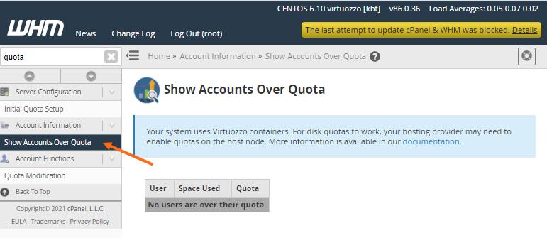 WHM - Show Accounts Over Quota