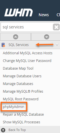WHM - SQL Services - phpMyAdmin section