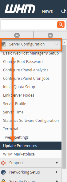 WHM Server Configuration Menu
