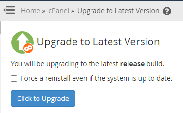 WHM Upgrade to Latest Version with Button