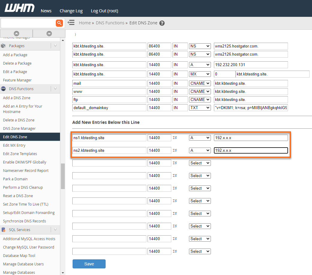 WHM - Edit DNS Zone - Create A Records