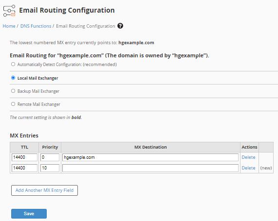 WHM edit MX entry