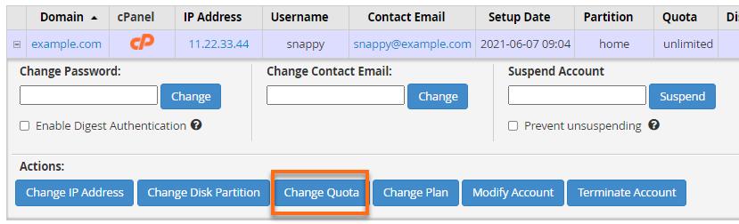 Change quota Button