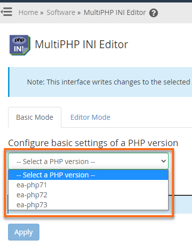 HostGator WHM MultiPHP INI Editor - Select PHP Version