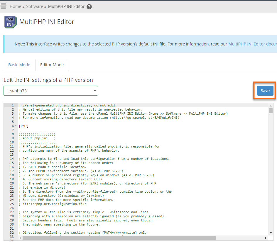 HostGator WHM MultiPHP INI Editor - Editor Mode