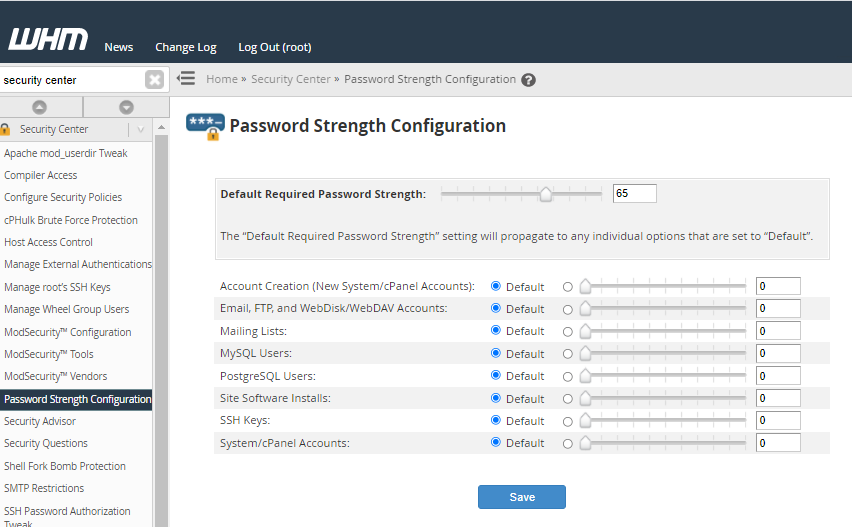Password Strength Configuration Page