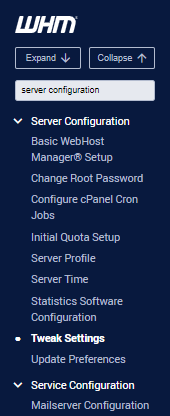 WHM server configuration section