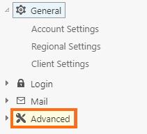 Windows Dedicated Server MailEnable Advanced Menu