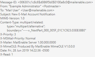 Windows Dedicated Server MailEnable Email Header Information