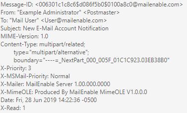 Windows Dedicated Server MailEnable Email Header Information