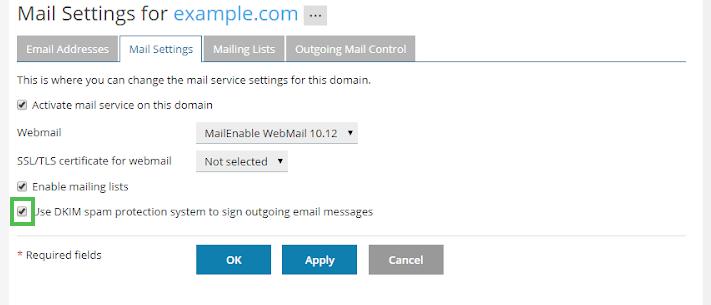 Windows Dedicated Plesk Mail DKIM option