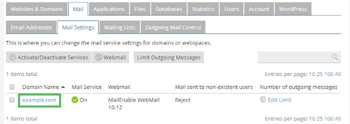 Windows Dedicated Plesk Mail Settings Tab
