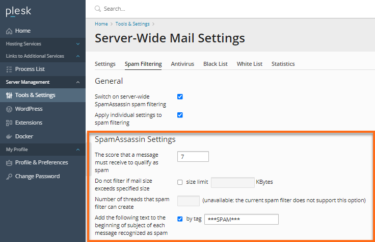 Windows Dedicated Server with MailEnable Plesk Spam Assassin Settings