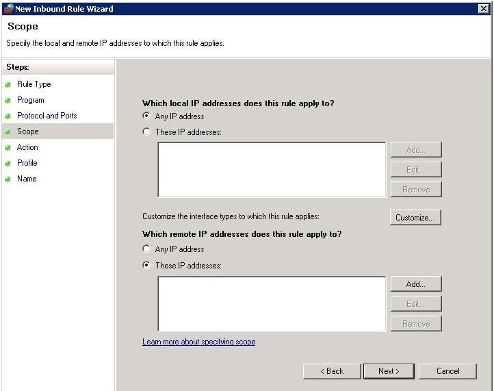Windows Firewall  Scope tab
