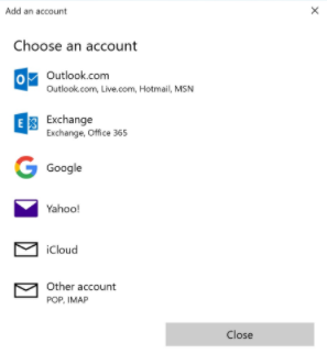 Windows - Mail - Choose an Account