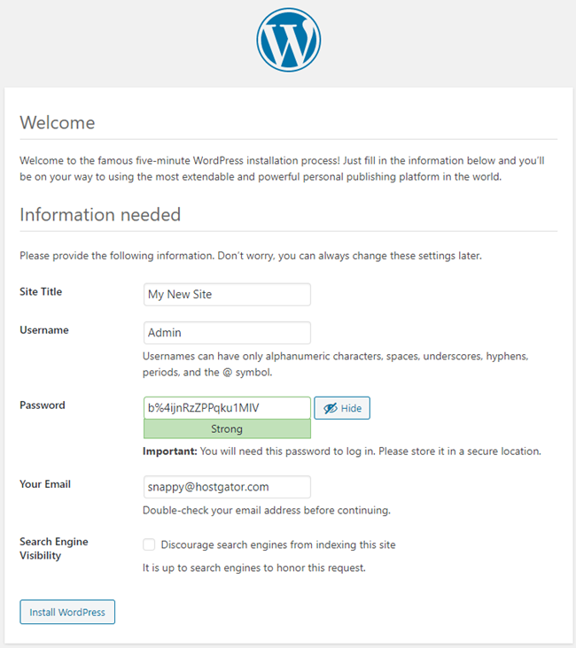 WordPress Installation Welcome Page