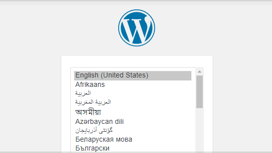 WordPress Installation Select Language