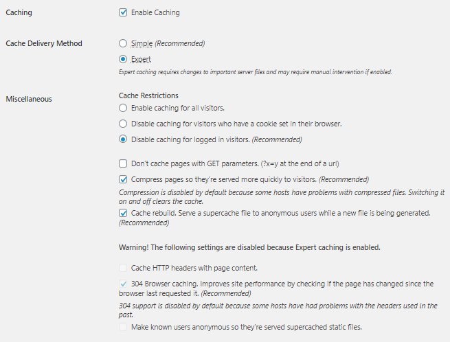 WordPress - WP Super Cache Plugin