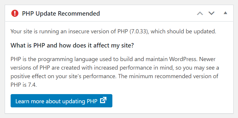 WordPress Admin Dashboard PHP Update Recommended