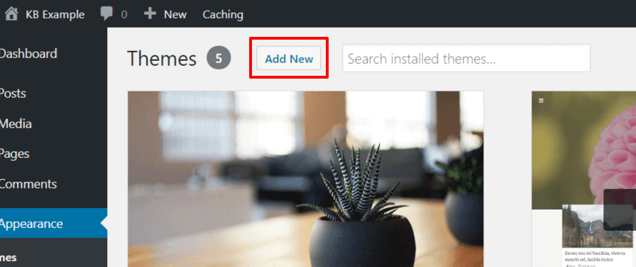 WordPress dashboard button to add themes screenshot