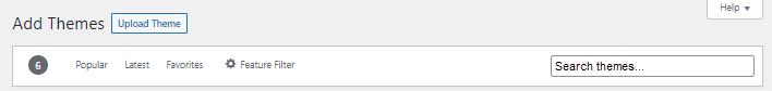 WordPress Dashboard option bar to search themes screenshot