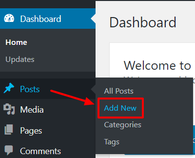 WordPress selecting new post in dashboard screenshot