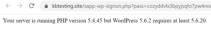 Your server is running PHP version 5.4.45, but WordPress 5.6.2 requires at least 5.6.20.