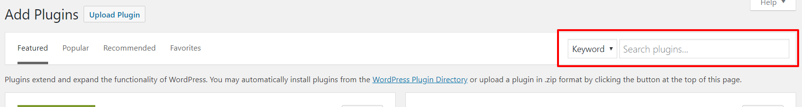 WordPress dashboard add new plugin search toolbar screenshot