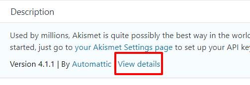 WordPress plugin description with view details link highlighted - screenshot