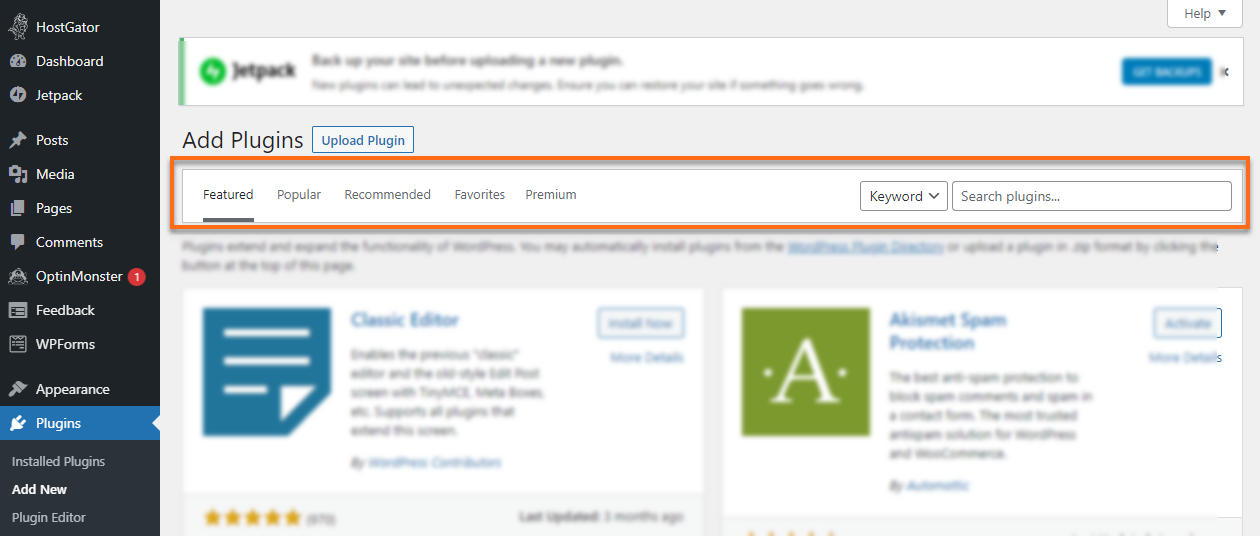 WP Dashboard Search plugins box