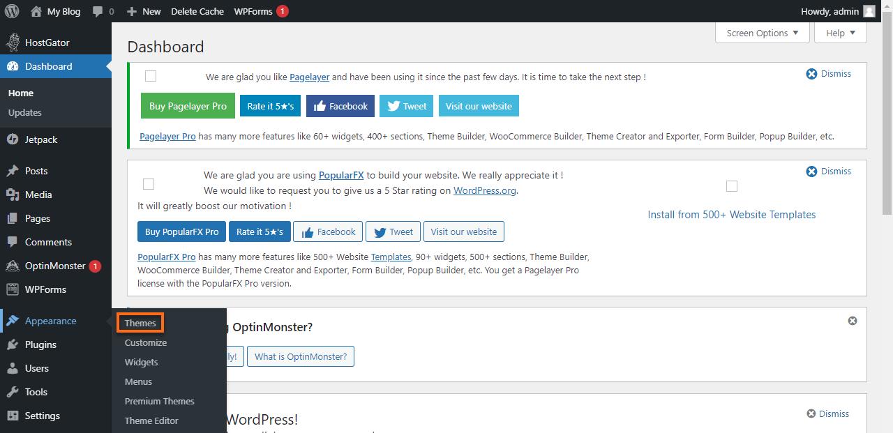 WordPress Dashboard Apprearance > Theme