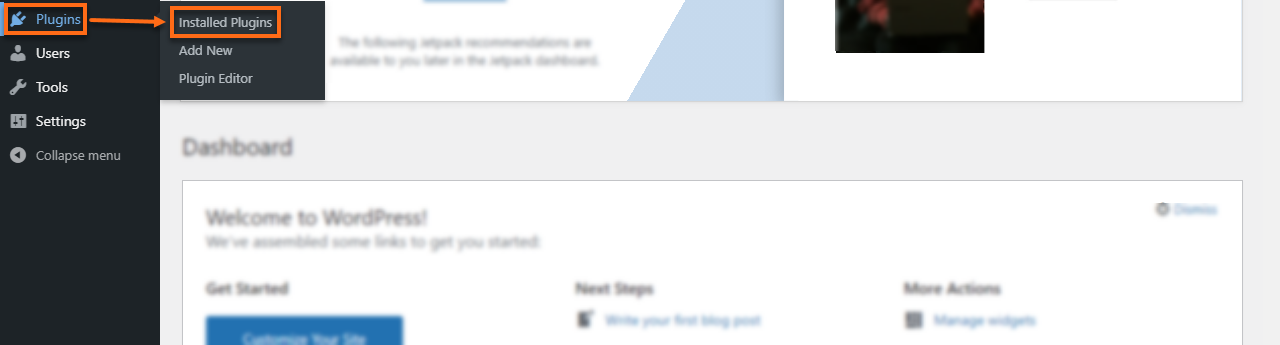 WP Dashboard Installed Plugins