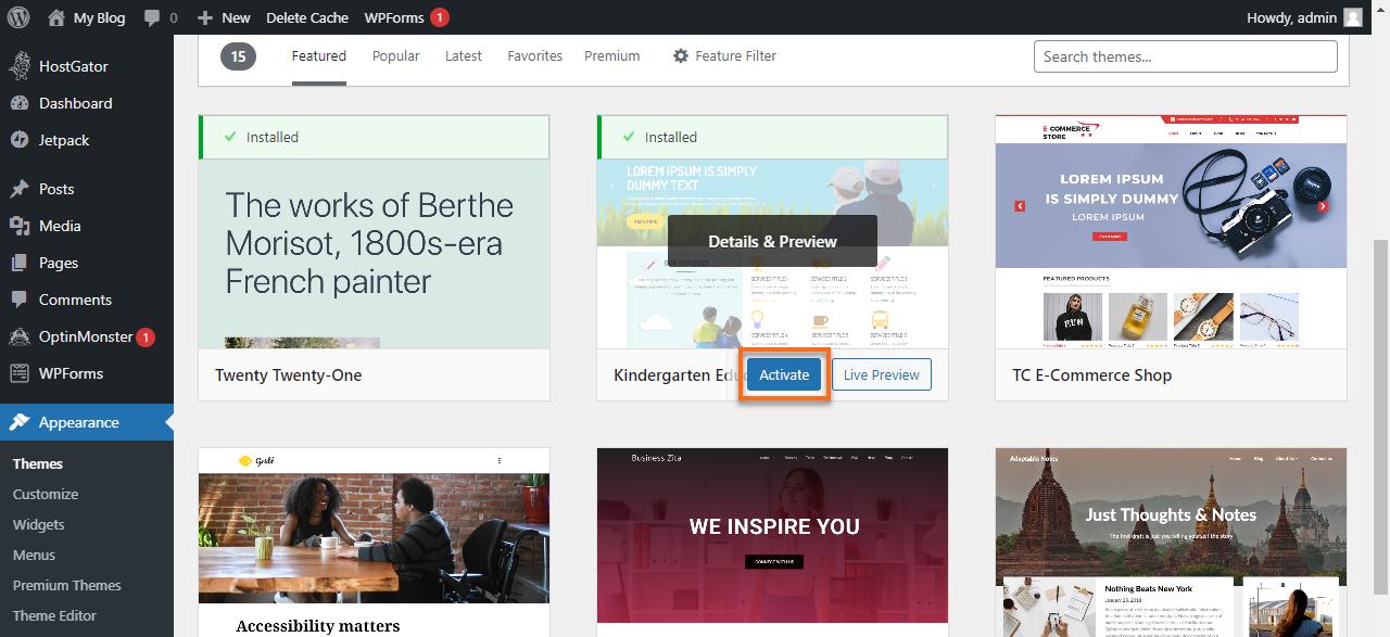 WordPress Dashboard Activate Theme