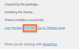 WordPress Dashboard Activate Button