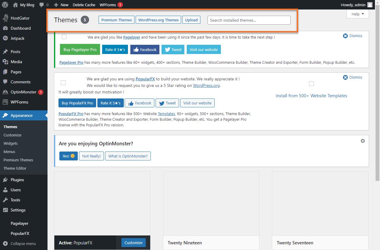 WordPress Dashboard Add Theme