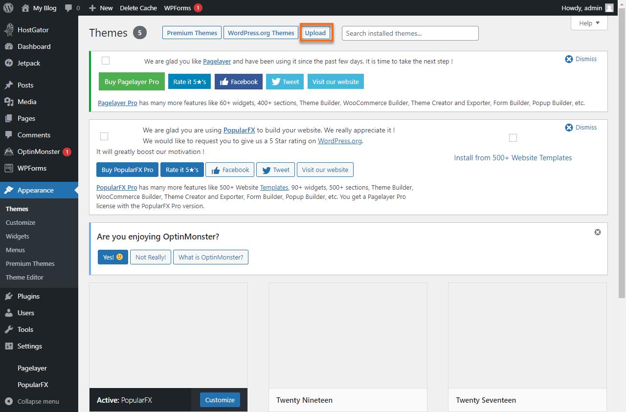 WordPress Dashboard Upload Theme
