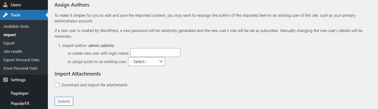 WP Dashboard Assign Authors