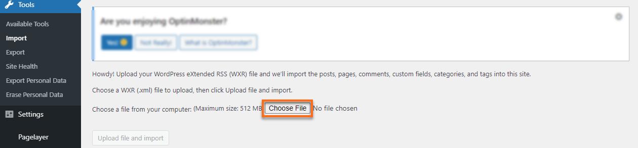 WP Dashboard Choose File