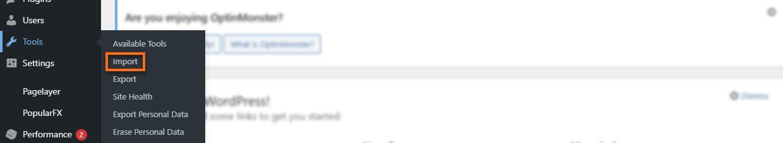 WP Dashboard Tools Import