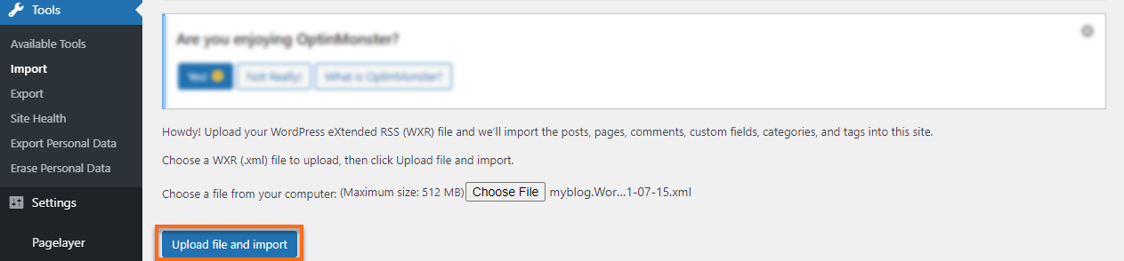 WP Dashboard Upload File and Import