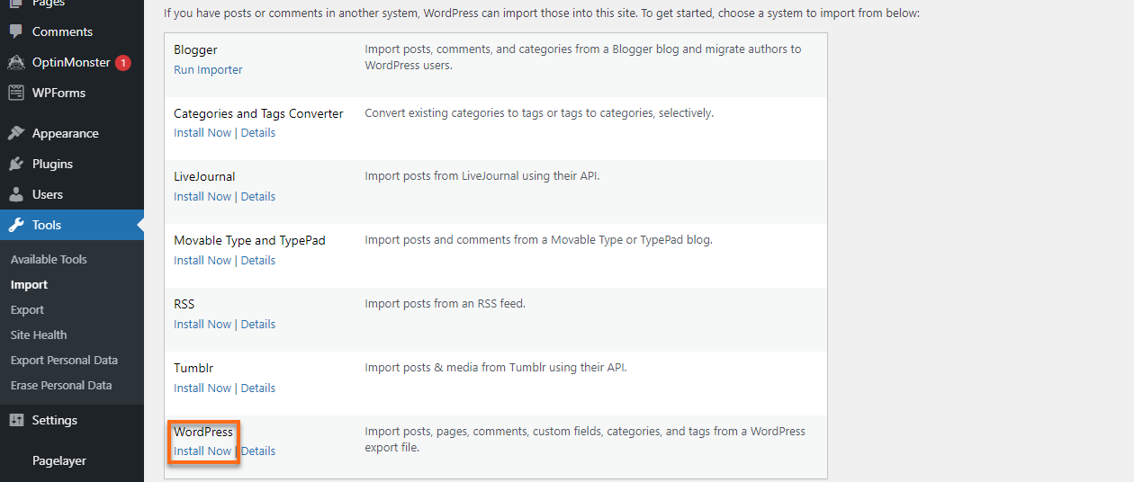 WP Dashboard Install Now for WordPress