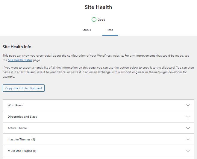Site Health - Info Tab